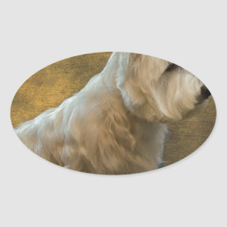 Westie sitting oval sticker