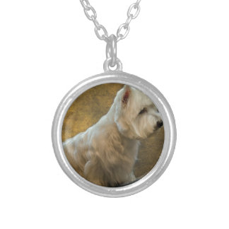 Westie sitting silver plated necklace