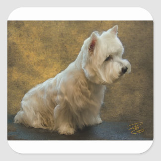 Westie sitting square sticker