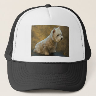 Westie sitting trucker hat