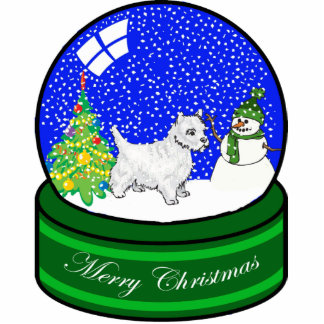 westie snow globe photo sculpture ornament