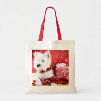 Westie Snowflake Holiday Design Tote Bag