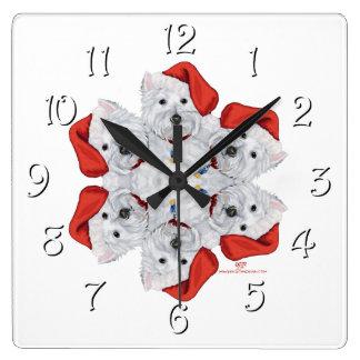 Westie Snowflake Square Wall Clock