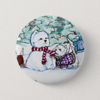 Westie Snowman 2 Inch Round Button