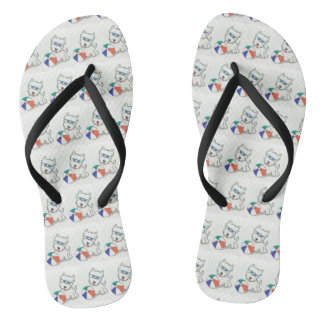 Westie Summertime Fun Flip Flops