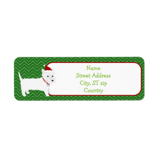 Westie Terrier Santa Hat Return Address Label