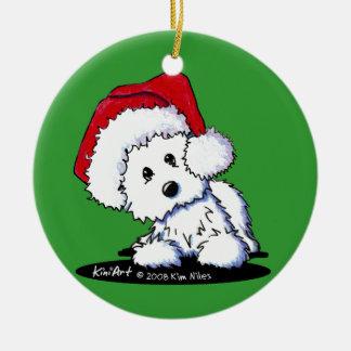 Westie Terrier Santa Round Ornament