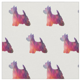 Westie Terrier Silhouette Tiled - Pink Fabric