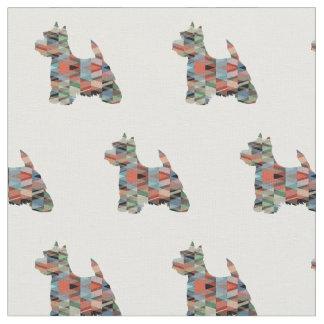 Westie Terrier Silhouette Tiled - Plaid Fabric