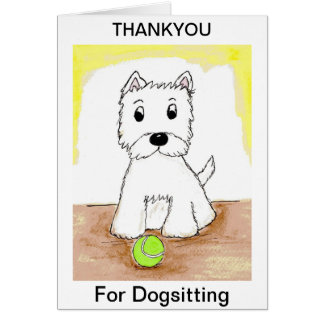 Westie Thankyou for Dogsitting card