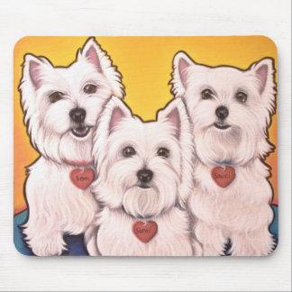 Westie trio mouse pad