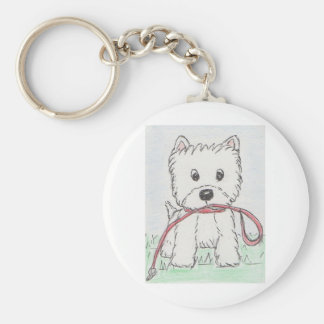 WESTIE WALKIES BASIC ROUND BUTTON KEYCHAIN