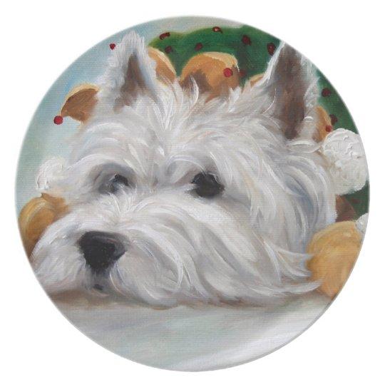 Westie West Highland Terrier Dog Christmas Plate