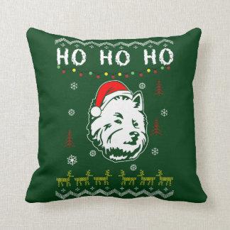 Westie White Terrier Dog Ugly Christmas Ho Ho Ho Throw Pillow