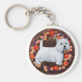 Westie With Autumn Flowers Basic Round Button Keychain