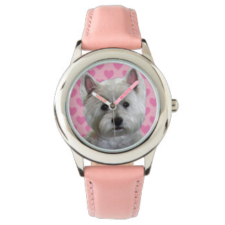 Westie with Heart Watch