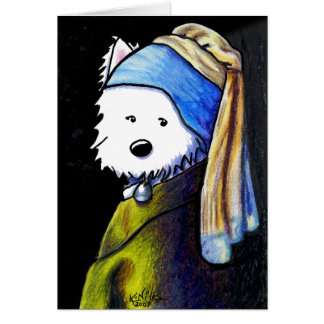 Westie with Pearl Earring Note Card