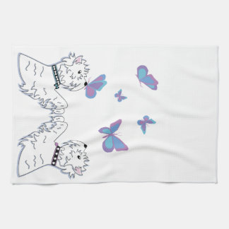 Westies and Butterflies Kitchen Towel