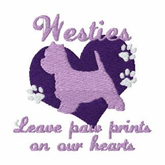 Westies Leave Paw Prints Purple Hoodies