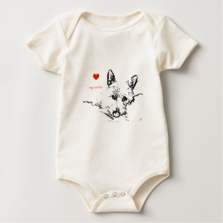 Westies Love,  black and white drawing Baby Bodysuit