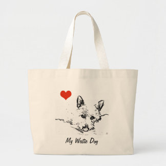 Westies Love,  black and white drawing Large Tote Bag