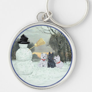 Westies & Scottie with Snowman Silver-Colored Round Keychain