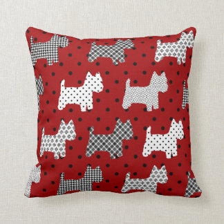 Westies Throw Pillow Red with Black Polka Dots