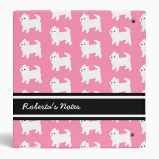 Westies West Highland Terrier Pattern Pink Binders