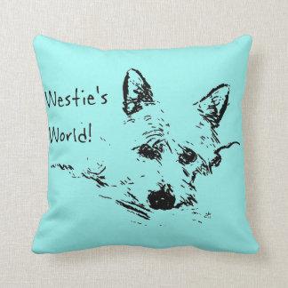Westie's World! Ink Sketch Of A Westie Dog Throw Pillow