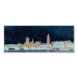 Westminster Abbey and Big Ben - Snowy Night Poster