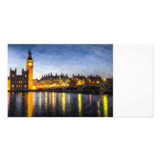 Westminster Bridge and Big Ben Art Personalized Photo Card