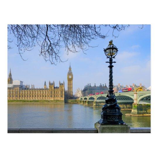 Westminster Bridge and Big Ben, London UK Postcard