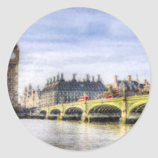 Westminster Bridge and London Buses Art Classic Round Sticker