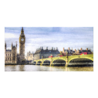 Westminster Bridge and London Buses Art Customized Photo Card