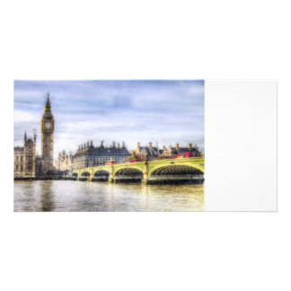 Westminster Bridge and London Buses Art Picture Card