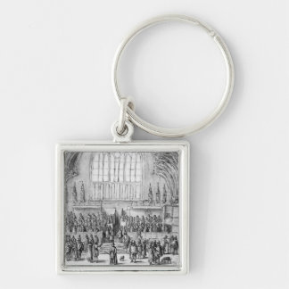 Westminster Hall Silver-Colored Square Keychain