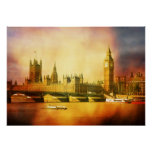 Westminster Palace and Bridge Poster