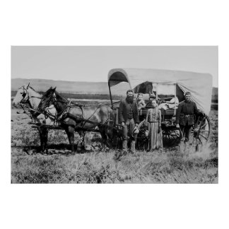WESTWARD FAMILY IN COVERED WAGON c. 1886 Poster