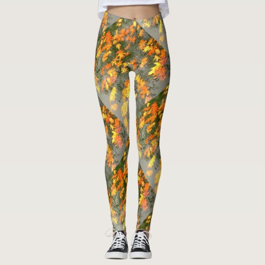 wet autumn leaves leggings