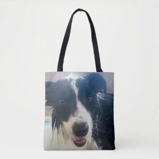 Wet Border Collie Tote Bag