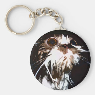 Wet cat = Mad cat Keychain