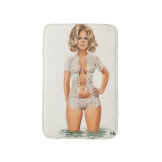 Wet clothes vintage pinup girl bath mat