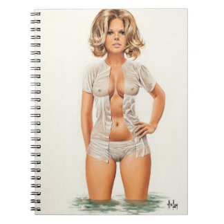Wet clothes vintage pinup girl notebooks