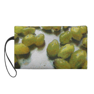 Wet glistening grapes wristlet clutches