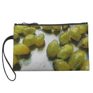 Wet glistening grapes wristlet purse