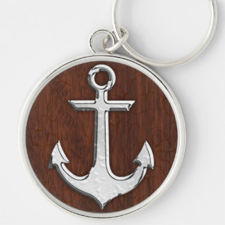 Wet Nautical Mahogany Anchor Steel Decor Silver-Colored Round Keychain