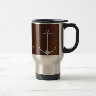 Wet Nautical Mahogany Anchor Steel Travel Mug