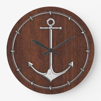 Wet Nautical Mahogany Anchor Steel Wall Clocks