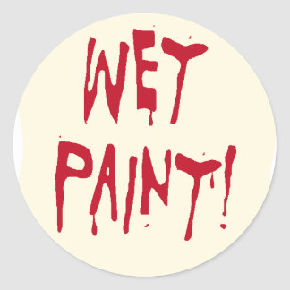 wet paint round sticker