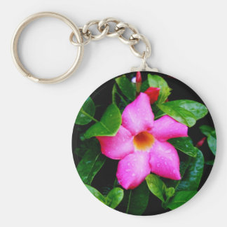 Wet Pink Flower Keychain